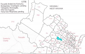 1776 Census Map VA,WVA and Kentucky Territory