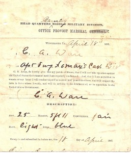 Civil War parole paper for Charles Alexander Ware