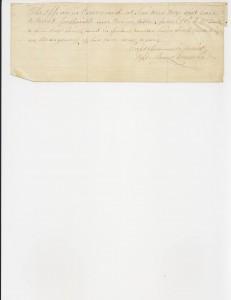 Civil War compensation note from Capt. Zulick