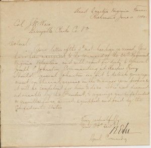 Letter from Gen. Robert E. Lee to Josiah Ware
