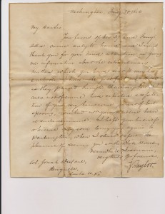 Letter from President Zachary Taylor to Josiah Ware
